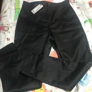 High waist matte leather look trousers